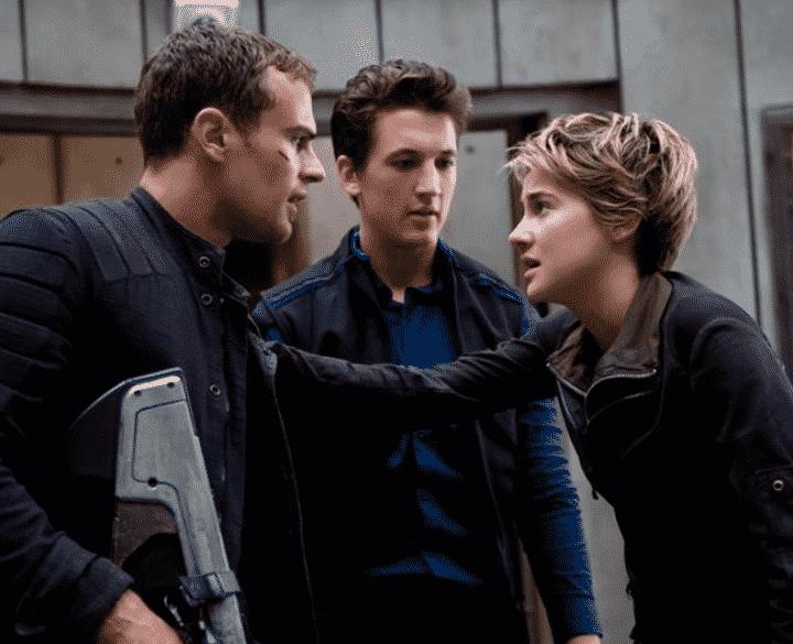 Theo James, Miles Teller y Shailene Woodley en 'Insurgente'