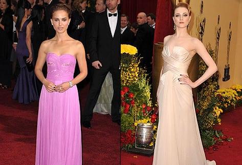 Dos de los más bellos rostros en Hollywood, Natalie Portman y Evan Rachel Wood - Alfombra Roja Oscar 2009 - Wireimage.com