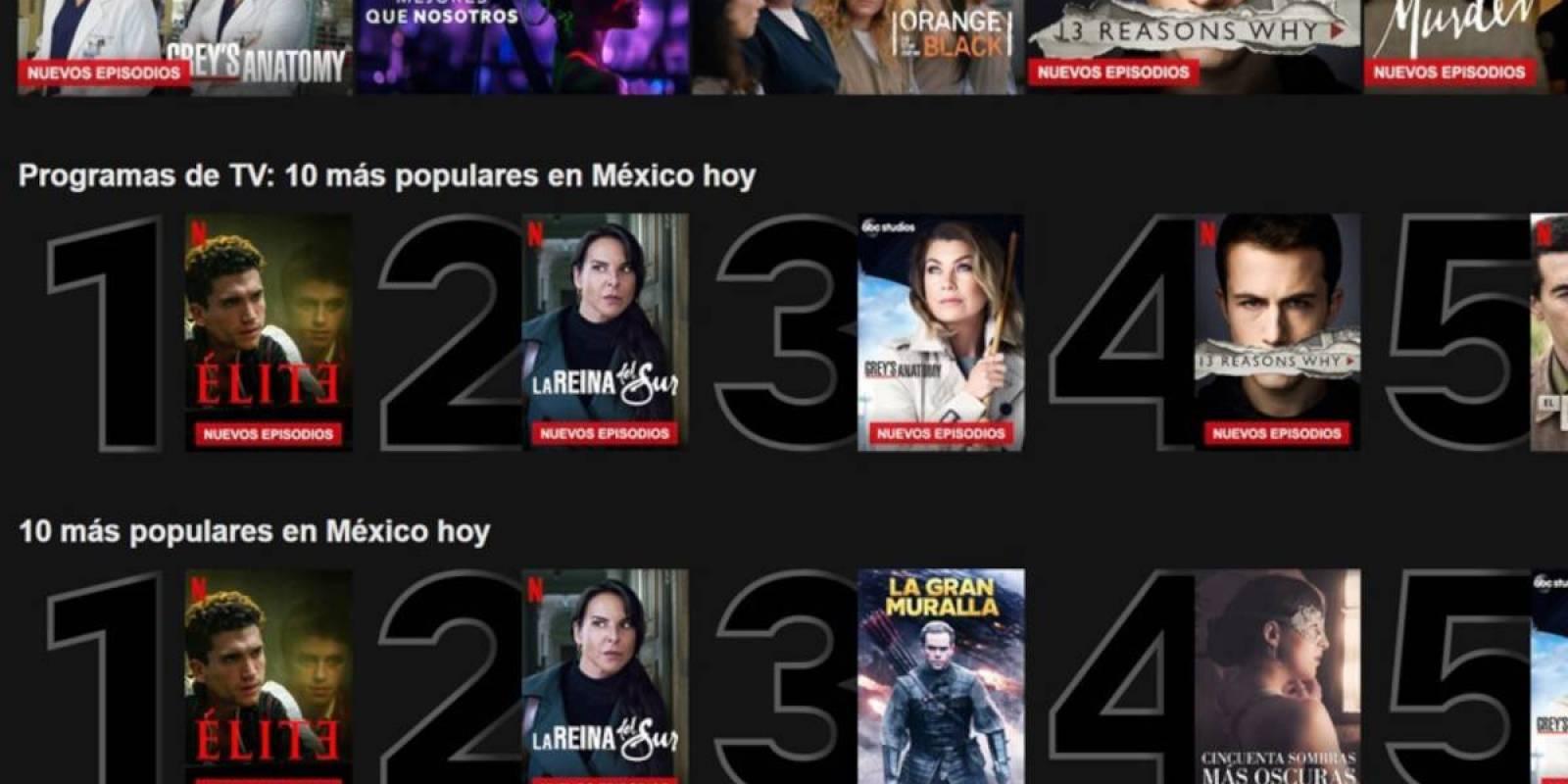 Netflix incorpora en plataforma Top 10 de títulos más populares diariamente
