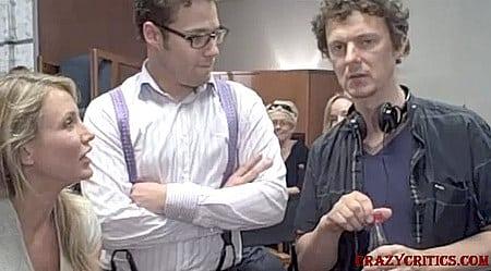 Cameron Díaz, Seth Rogen y el director Michael Gondry