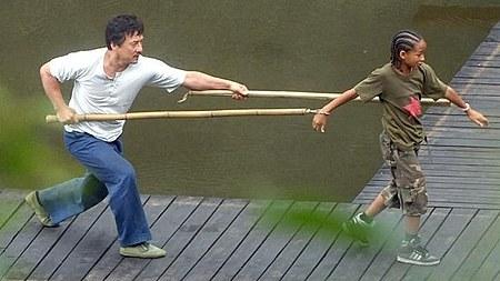 Durante la filmación de Kung Fu Kid