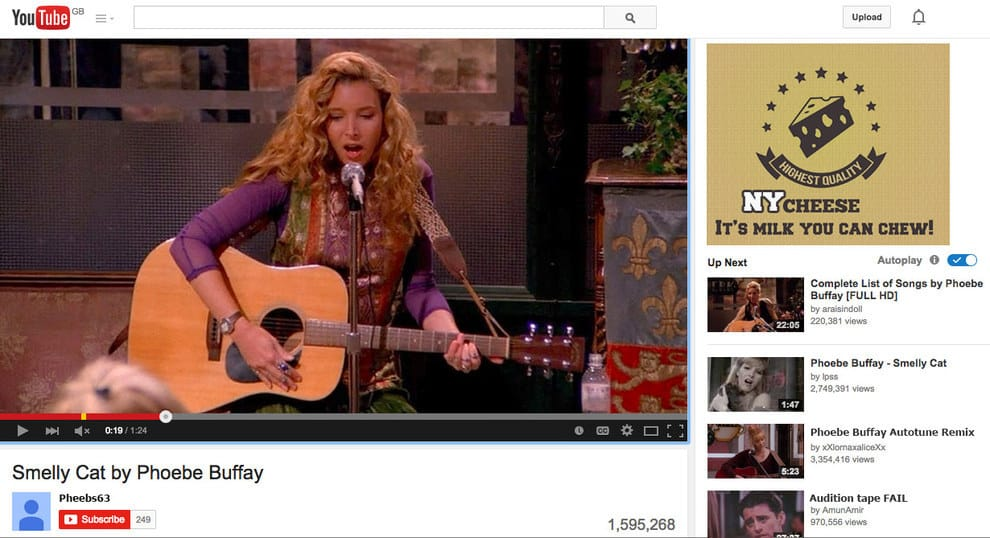 Smelly Cat hubiese sido un hit de reproducciones en youtube para Phoebe
