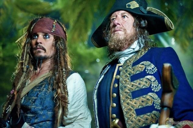 """Johnny Depp junto a Geoffrey Rush en """"Piratas del Caribe 4"""""""