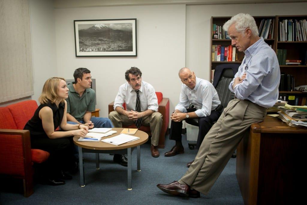 Rachel McAdams, Mark Ruffalo, Brian d'Arcy James, Michael Keaton y John Slattery protagonizan la cinta 'En Primera Plana' (Spotlight), en cines a partir del 15 de enero.
