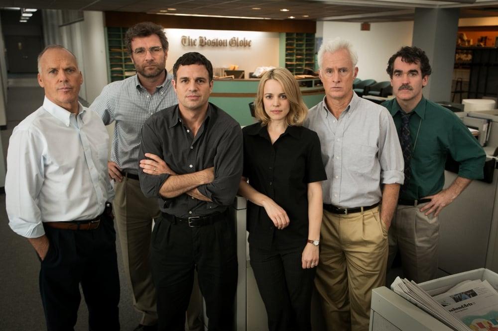 Michael Keaton, Liev Schreiber, Mark Ruffalo, Rachel McAdams, John Slattery y Brian d'Arcy James en 'Spotlight'. © 2015 - Open Road Films