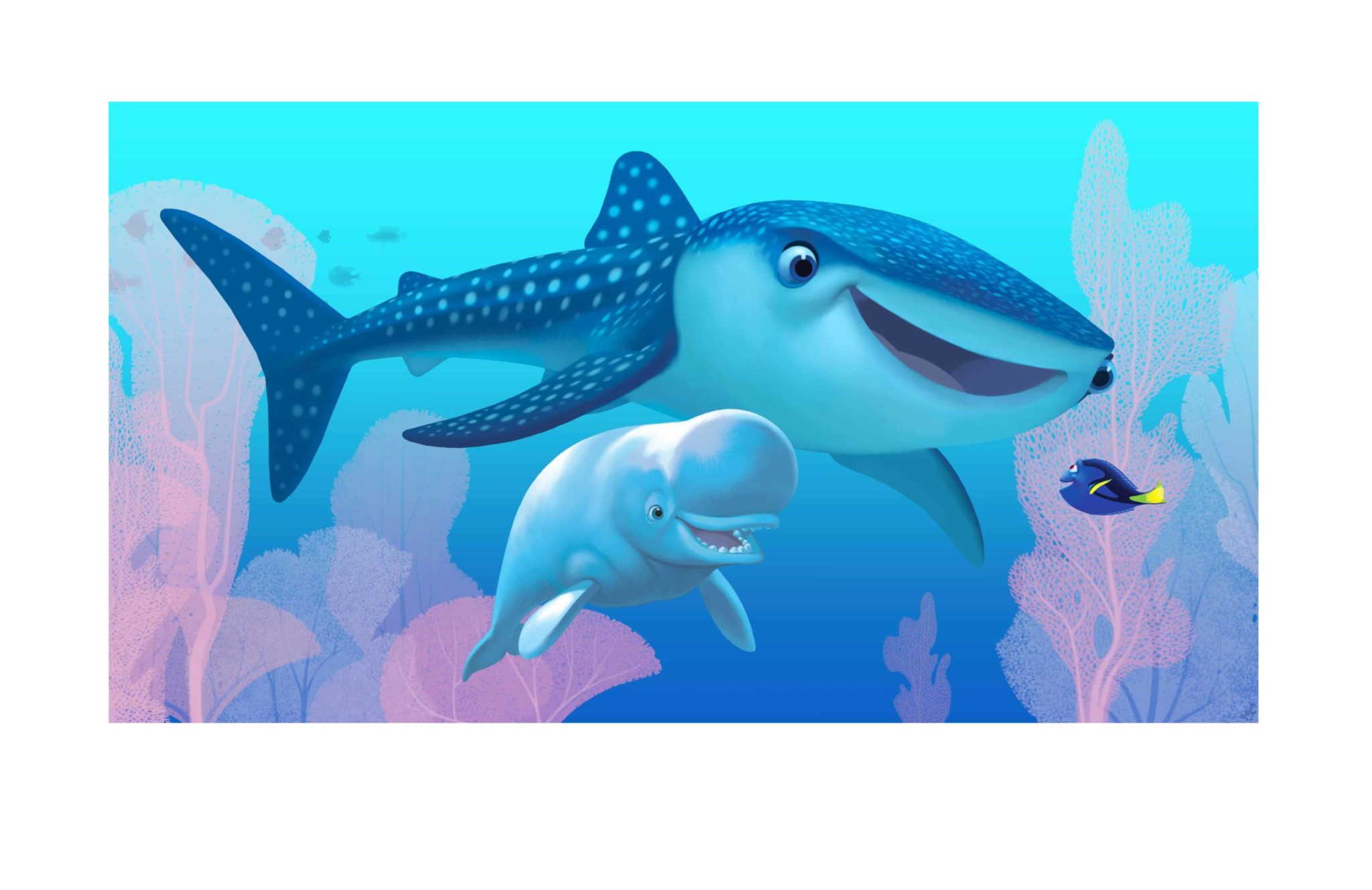 FINDING DORY – Concept Art by Production Designer Steve Pilcher. Pictured (L-R): Bailey, Destiny, Dory. ©2015 Disney•Pixar. All Rights Reserved.