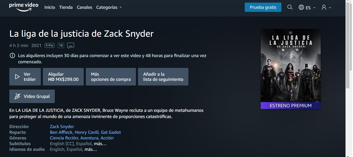 El 'Snyder Cut' disponible en renta en Amazon Prime Video y Cinépolis